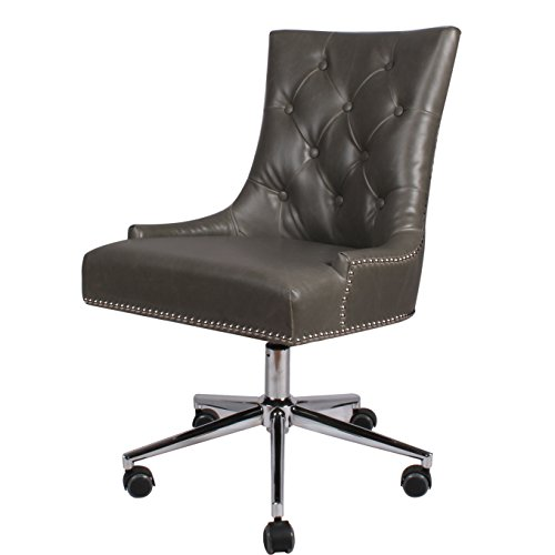 New Pacific Direct 1900038-V04 Cadence Bonded Leather Office Chair Furniture, Vintage Gray