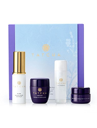 Tatcha SENSITIVE SKIN The Starter Ritual Soothing & Anti-Aging Set : Camellia Cleansing Oil + Indigo Soothing Rice Enzyme Powder + The Essence + Indigo Soothing Triple Recovery Cream