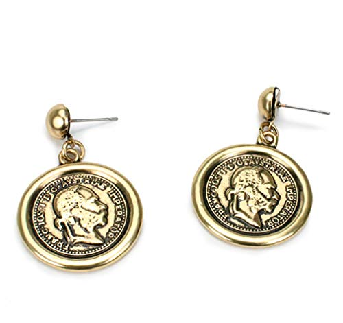 LOSOUL Coin Earrings Round Coin Embossed Dangle Drop Hook Earrings