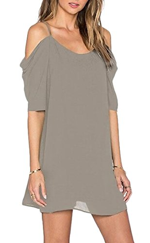 Grey Women's Chiffon Cut Spaghetti Jaycargogo Dress Casual Shoulder Off Out Strap BcZnPWv