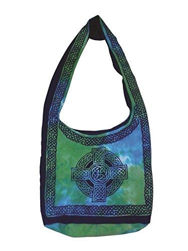 Handmade 100% Cotton Celtic Cross Hobo Bag Shopping Work School Tote Flat Bottom 15x12 inches