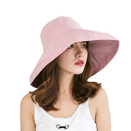 (iHomey Women Wide Brim Sun Hats Foldable UPF 50+ Sun Protective Bucket Hat Pink)