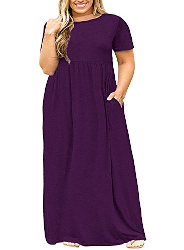 - Womens Plus Size Maxi Dresses Short Sleeve Causal Summer Floral Plain Loose T Shirts Long Dress with Pockets