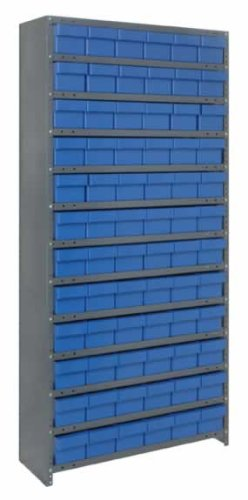 Quantum Storage Systems CL1275-601BL Closed Shelving System with Super Tuff Euro Drawers, 72 QED601 Shelf Bins, 12