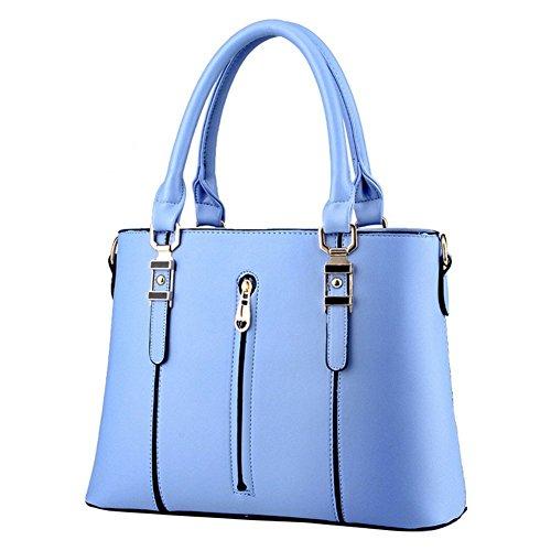 Fashion azul Bolsa PU qckj Mujeres Europeo Cruz Soild Cuerpo cremallera bolso Estilo Hombro De dUOaRWqw