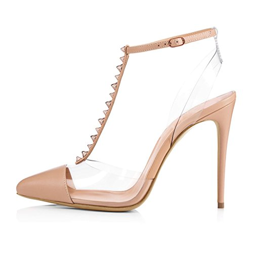 Heels Heeled Height Women's gao Nudecolor Pointed Closed Toe Heel Girl Heel With High 11CM Sandals 13CM Rivets Fine 6Uwq7Xxwd
