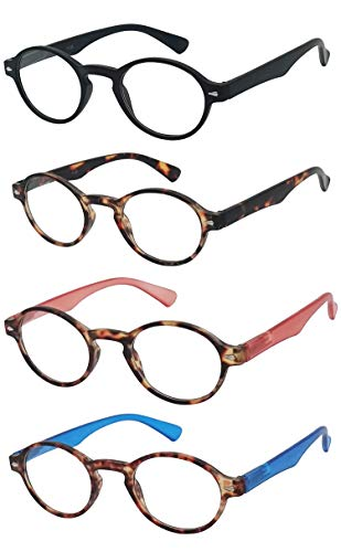 Reading Glasses 4 Pack Spring Hinge Keyhole Bridge Readers for Men and Women Fashion Glasses for Reading - Choose Your Magnification (Black, Tortoise Brown, Red and Blue, 2.00 Strength)
