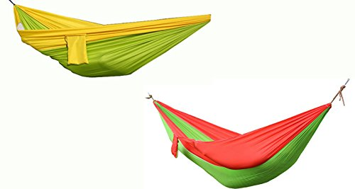 Honovi (Tm) A pack of 2 Parachute Nylon Fabric Ultralight Leisure Hammock Swing Hang Sleeping Bed for Outdoor, Camping, Traveling, Backpacking, Beach & Lake, Home- Green&Yellow and Green&Red
