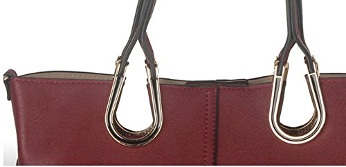 Handbag Vintage Red Yiji Belt Accent Tote Women's Medium nCvqqRwUHx