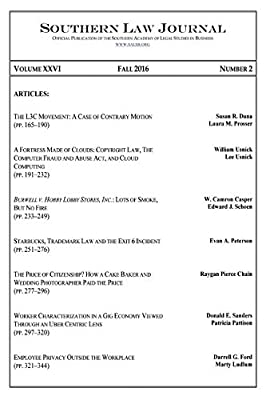 Southern Law Journal, Vol. XXVI, No. 2, Fall 2016