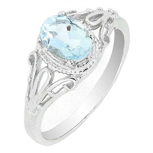 Filigree Sterling Silver Oval Cut Natural Aquamarine Ring (3/4 CT.T.W) in Vintage Style (5)