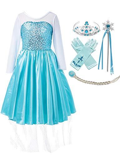 MUABABY Girls Ice Snow Queen Sequin Princess Upgrade Deluxe Costume Long Sleeve Elsa ()
