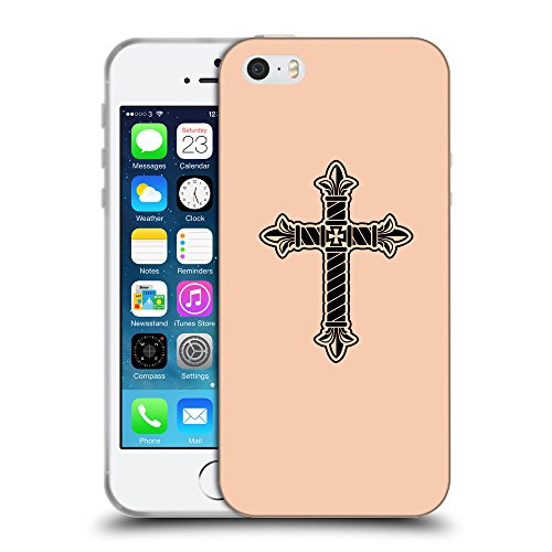 GoGoMobile Coque de Protection TPU Silicone Case pour // Q07960604 Christian Cross 21 Abricot // Apple iPhone 5 5S 5G SE