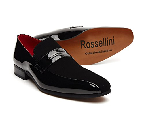 Collezione Italiana Mens Formal Boat Style Classy Patent and Nubuck Shoes Rossellini- Black Size 11 UK 8Io2vHdU8z
