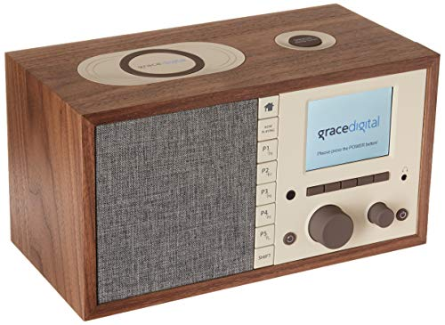 Grace Digital Mondo+ Classic Wireless Internet Radio with Wi-Fi, Bluetooth and Qi Built-in Wireless Smartphone Charger Walnut (GDI-WHA6005)