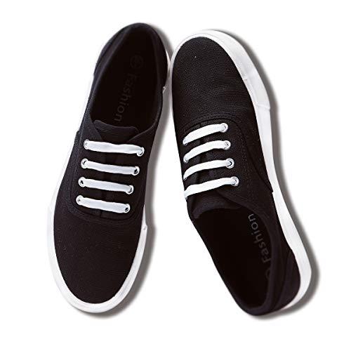 Canvas Black Shoes (ZGR Women's Classics Canvas Sneakers Casual Low Cut Walking Shoes(Black,US7))
