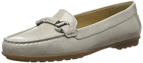 Geox Women's W Elidia 3 Moccasin, Light Grey, 40 EU/10 M US (Geox Leather Flats)