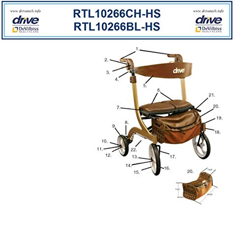 Drive Nitro DLX HD Brown - Replacement Brown - 7. Seat Assembly Brown - 1 Each Part 1026608AB