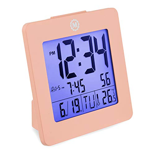 Marathon CL030050PI Desktop Alarm Clock with Date and Temperature. Easy to Use. Features Backlight, 2 Alarms and Repeating Snooze. 7 Language Choices. Batteries Included. Color - Pink.