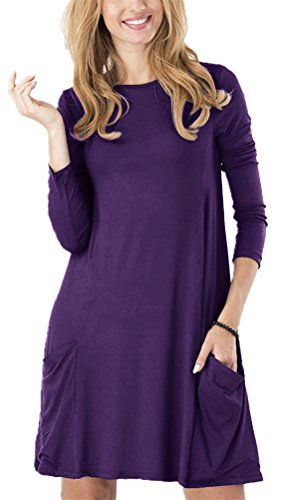 Women's Long Sleeve Pockets Casual Swing Plain T-shirt Dress (M, Purple)