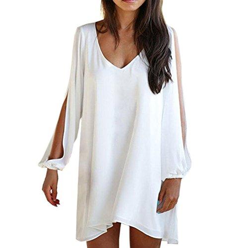Damen Off Shoulder Puffaermel Chiffon mit ärmeln off shoulder V-Ausschnitt Sommerkleid Partykleid Blusenkleider (XL, Weiß)