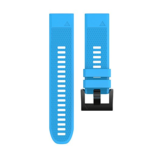 Wearable4U Garmin Fenix 5 Band 22mm Quick Release Easy Fit Silicone Replacement Watch Strap for Garmin Fenix 5 Sapphire, Quatix 5, Quatix 5 Sapphire, Forerunner 935, Approach S60 (Sky Blue)