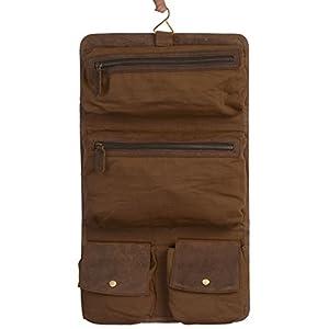 KOMALC Genuine Buffalo Leather Hanging Toiletry Bag Travel Dopp Kit