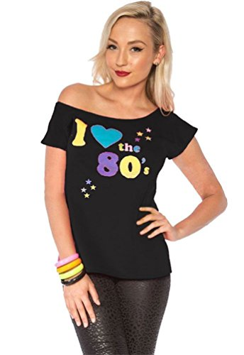 Womens I Love The 80s T-shirt Outfit Ladies Pop Star Top Fancy Dress Costume#(Black I Love The 80s Print#XX Large(US 14-16)#Womens) -
