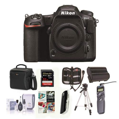 Nikon D500 DX-format DSLR Body – Bundle with 32GB SDHC U3 Card, Holster Bag, Tripod, Spare Battery, Remote Shutter Trigger, Memory Wallet, Cleaning Kit, Card Reader, Software Package