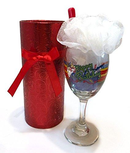 Bath Chocolate Gift Basket - Wine Spa Set - Happy Birthday Cake and Candy Gifts - Gift Baskets - Wine Glass with Bath Salts, Loofah, Razor and Candy - Packed in a Gift Box (Birthday Bath Sundae with Sucker - Happy Birthday)