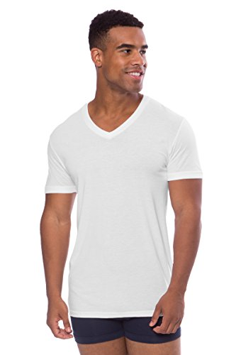 Texere Men's V-Neck Luxury Undershirt (Meio, Natural White, XL) Breathable Tee