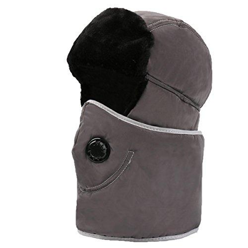 SOOCO Mens Warm Bomber Hat Máscara A Prueba De Viento Winter Ear Flap Unisex Ushanka Para El Esquí De Patinaje Hikin Gray