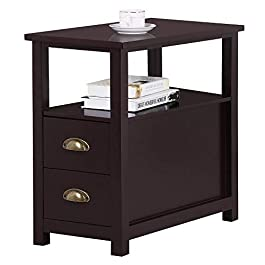 Yaheetech Chairside End Table with 2 Drawer and Shelf Narrow Nightstand for Living Room (Espresso, Rustic)