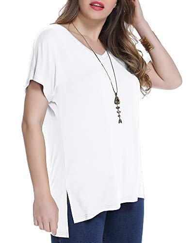 (JollieLovin Women's Short Sleeve T Shirt V Neck Loose Tops with Side Split (White L))