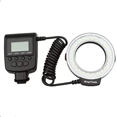 Goliton Flash Light Ring Flash with LCD Display Adapter Rings Flash Diffusers Compatible for Nikon Canon Panasonic Olympus and Other DSLR Cameras