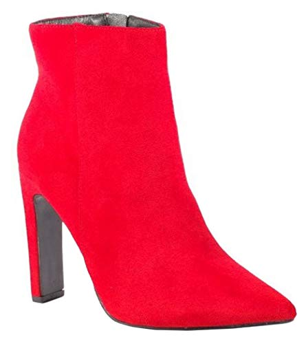 Chelsea Faux Ankle Red Casual Block Womens Heel Boots SHU Shoes CRAZY Zip Ladies Suede Q59 Up High SCCgwnxq