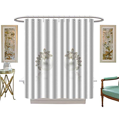 luvoluxhome Shower Curtains with Shower Hooks Pair of Diamond and Natural Pearls earrs Isolated on White Background Bathroom Decor Set with Hooks W69 x - Set Earr