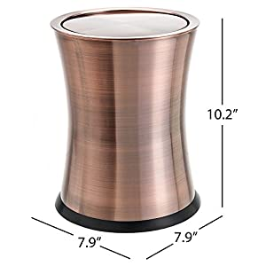 """Bennett """"Swivel-A-Lid"""" Small Trash Can, Stainless Steel Attractive 'Center-Inset' Designed Small Wastebasket, Modern Home Décor, Round Shape (Copper)"""