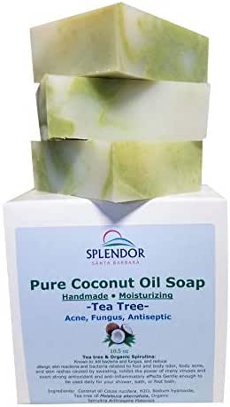 Tea Tree Coconut Oil Soap Bars with ORGANIC SPIRULINA. Handmade, Vegan, Natural, Chemical-free and Moisturizing. Anti-fungal, Anti-bacterial, Acne, Eczema & Body Odor for Hand, Body and Face