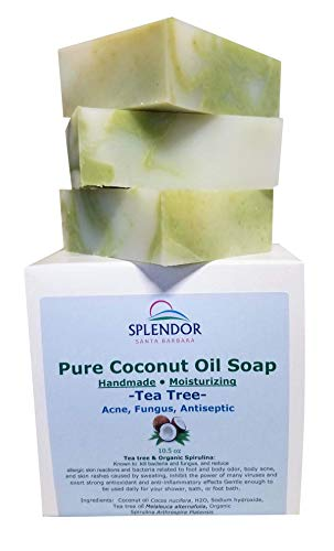 Tea Tree (10.5 oz) Pure Coconut Oil Soap with ORGANIC SPIRULINA. Handmade, Vegan, All Natural, Moisturizing, With AAA+ Therapeutic-Grade Australian Essential -