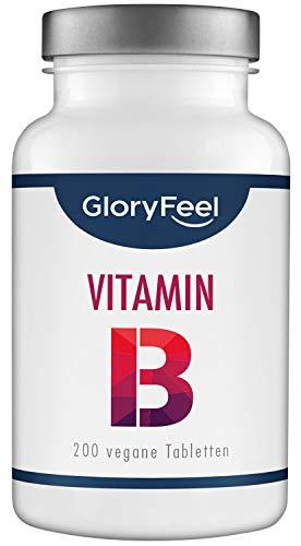 Vitamin B Komplex Hochdosiert - 200 Tabletten - VERGLEICHSSIEGER 2020* - Alle 8 B-Vitamine B1 B2 B3 B5 B6 B7 (Biotin) B9 (Folsäure) B12 - Laborgeprüft ohne Zusätze hergestellt in Deutschland