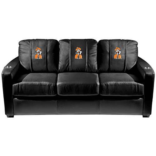 XZipit College Silver Sofa with Oklahoma State Pistol Pete Logo Panel, Black