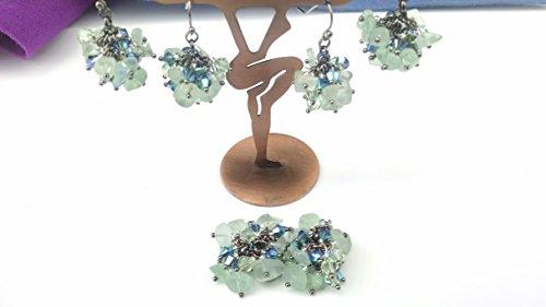 (Green Fluorite, crystal cluster earrings)