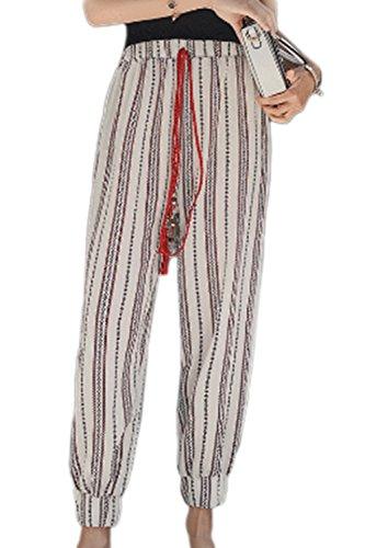 Haute De Pantalons Cheville Rayures Pantalon Été Taille White Vintage Yulinge Les CAfxtqBw