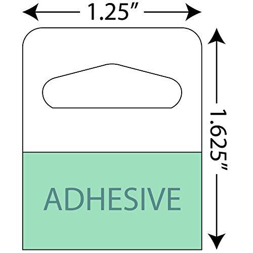 Adhesive Hang Tabs - 1000/Pack - Heavy Duty Retail Hang Tags (1-1/4 X 1-5/8 Slot Holed)