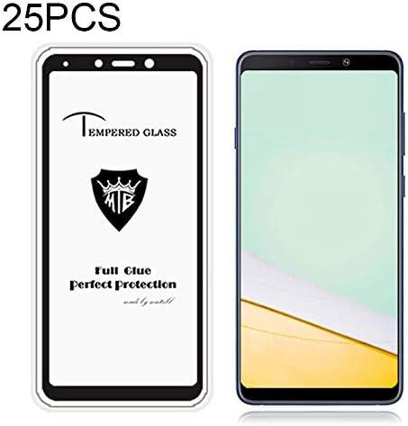 LGYD 25 PCS Full Screen Full Glue Anti-Fingerprint Tempered Glass Film for Galaxy A9 Screen Protector Film 2018 Black Color : Black