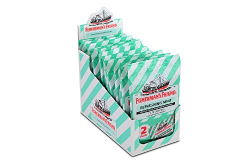 Cough Drops by Fisherman's Friend, Cough Suppressant and Sore Throat Lozenges, Mint Sugar Free Menthol Flavor, 40 Count (12 Pack)
