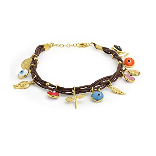 Turkish Evil Eye Multi Dangling Lucky Charms Brown Leather Bracelet For Women 14K Gold Plated 925 Sterling Silver