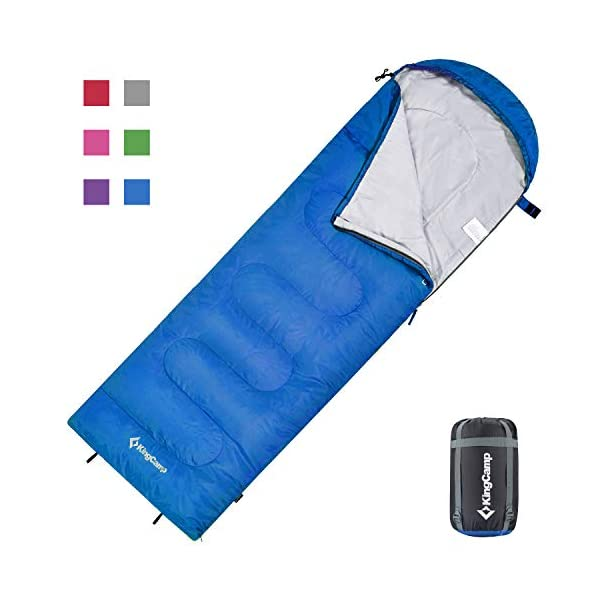KingCamp Envelope Sleeping Bag 3 Season Spliced Adult Portable Lightweight Comfort with Compression Sack for Adults Kids Camping Backpack Temp Rating 44F 2