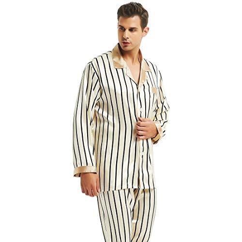Mens Silk Satin Pajamas Set Sleepwear Loungewear Beige (Man Fashion Silk)